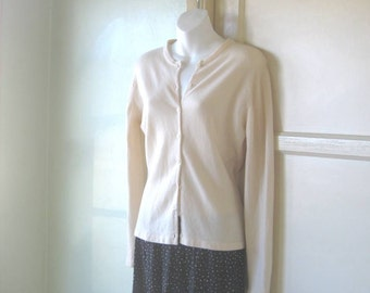 Soft Vintage Off-White Cashmere Blend Cardigan by Paul Stuart - Large Wool-Cashmere Cardigan - Wheat Button Up Sweater