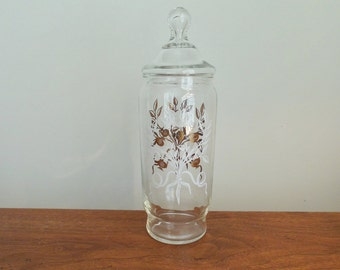 Tall Glass Candy Jar with White and Gold Pineapple Tree Design and Lid Apothecary Jar