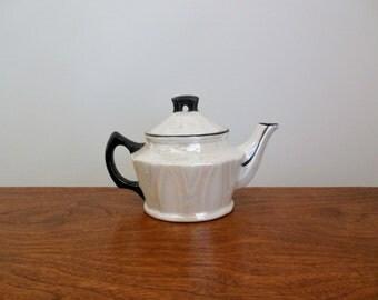 Lusterware Czech White Teapot with Black Trim Czechoslovakia Small Individual Pottery Tea Pot