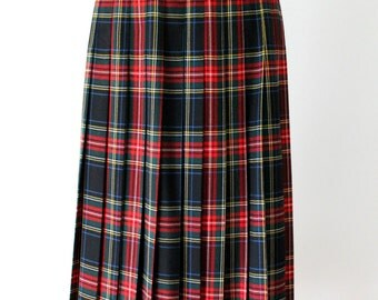 Womens wool plaid vintage skirt / classic pleated long wool skirt / black red green blue yellow plaid / highland outlander inspired style