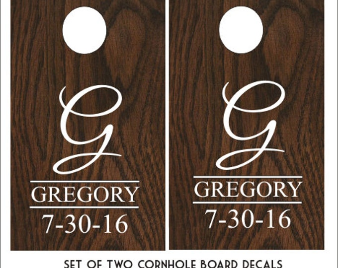 Wedding Cornhole Decals Personalized Decals DIY Wedding Corn Toss Game Vinyl Decals Set of Two Decals Monogram Cornhole Decal Name Est Date