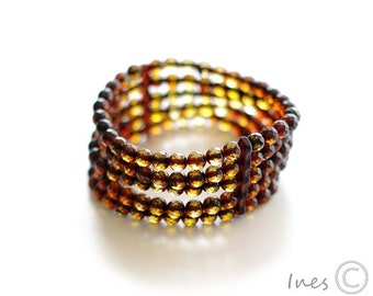 Baltic Amber Bracelet Made of Tiny Faceted Round Amber Beads
