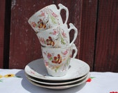 3 delicate vintage French hand painted cups and saucers - white porcelain with pink flowers and gold - coffee or tea cups demitasse