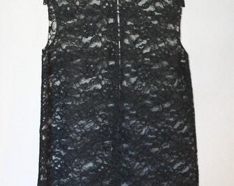 1960s Vintage Open Front Sheer Lace Vest in Black