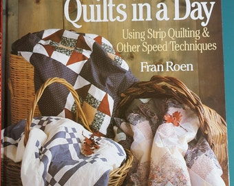 Book COUNTRY QUILTS in a Day Fran Roen Strip Quilting & Speed techniques Quilt Pattern Book
