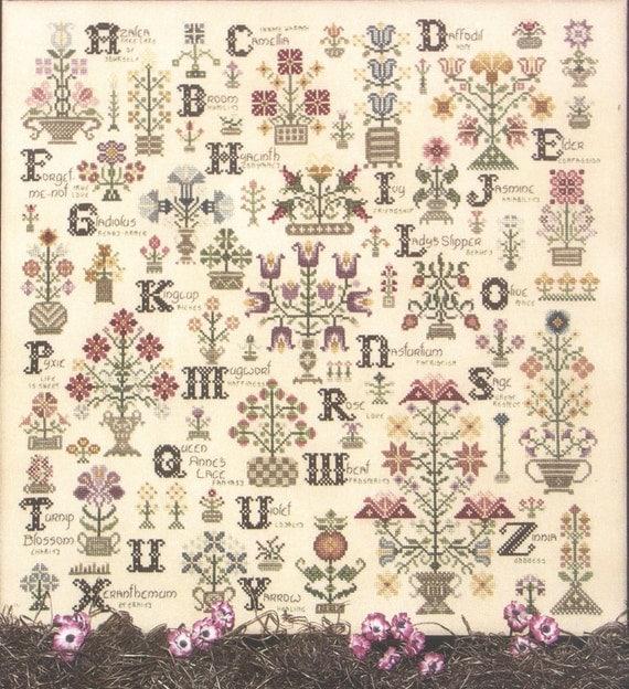 flower cross stitch pattern language of flower alphabet of