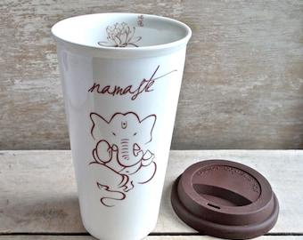 Large Ganesh Travel Mug, Ganessa, Ganesha Insulated Takeaway Cup, Namaste, Lotus, Peaceful, Eco, Green, 16 oz, Large coffee Cup