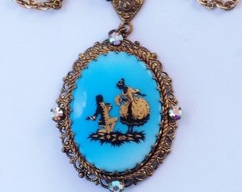 West Germany Blue Victorian Cameo Pendant Necklace