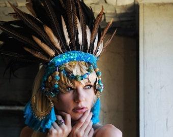 READY TO SHIP California dreamin' turquoise golden Fairy feather tribal Aztec headpiece headdress
