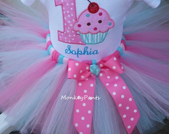 1st Birthday Girl Outfit - Baby Girls Sprinkles Party Tutu Outfit - Pink and Aqua Cupcake Tutu - Sprinkles Birthday Party