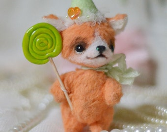 OOAK ARTIST Orange Baby Miniature Fox - Ray 3 INCH by Natalia Koroleva