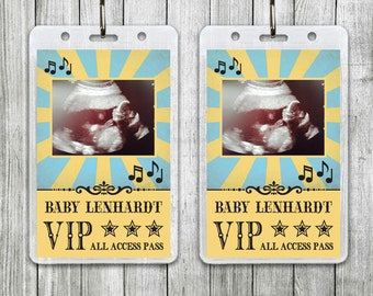 Rock-a-bye Baby Lanyard, Rock n Roll Baby Shower Lanyard, Music Baby Shower Lanyard with Sonogram Photo, Rockabye Baby Theme
