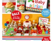 Caterpillar Baby Shower Package Personalized FULL Collection Set - PRINTABLE DIY - BS820CA1x
