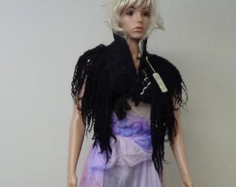 Nuno felted Wearable art / Women top Wool vest / Wool scarf Large shawl / Boho wrap Wool wrap Felted shawl Capelet Nuno Felted vest
