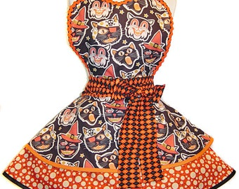 "Halloween Apron-""Cat Masks"" Retro Halloween Apron, A ""Tie Me Up Aprons"" Exclusive Limited Edition of 3!"
