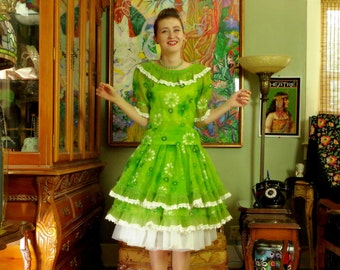 Vintage 50s Patio Party Dress . Lime Floral Chiffon . Alice in Wonderland Mystique . Flocked . So Feminine . Swing Ruffle Circle Skirt.Yum