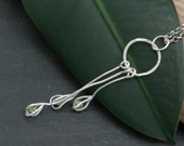 Peridot Seed Pod Dangling Necklace in Sterling Silver