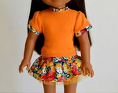 """14.5"""" Doll Clothes,Fits Wellie Wishers, 14.5"""" Doll Short Sleeve Orange Tee, 14.5"""" Doll Tulle Skirt, Doll Headband, Fits Wellie Wishers"""