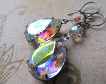 Aurora Borealis Earrings Iridescent Earrings Estate Drop Earrings Color Changing Earrings Teardrop Dangle Earrings Pear Earrings- Stars