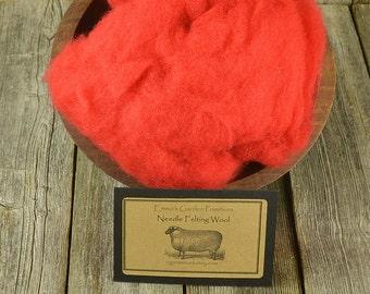 Needle Felting Wool - Tomato- Wet Felting Wool