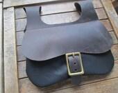 Medieval Leather Pouch, Renaissance Bag, Black w/ Dark Brown Flap, Brass Buckle
