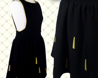 Black Ladies Pinafore Dress- with yellow and black glitter sunbeams pattern (sunshine). 5 Women's sizes Available.