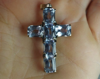 Vintage 820 Sterling Silver Blue Gems Cross Pendant