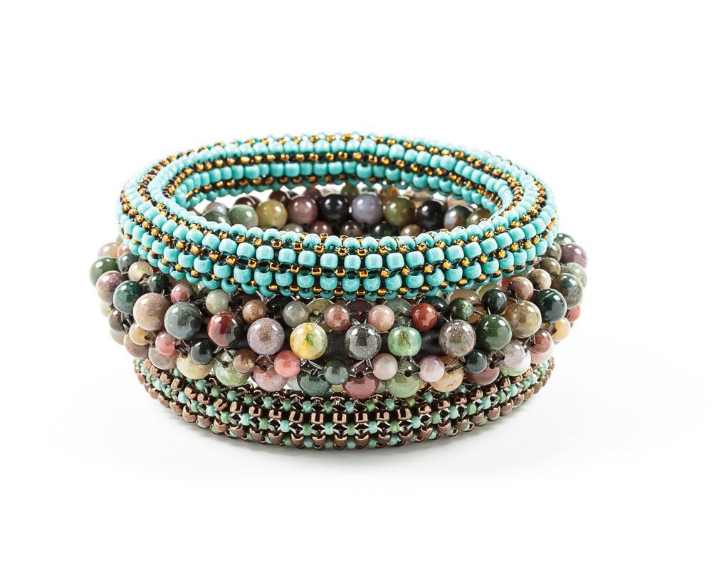 gemstone bead bracelet artisan bracelets woven by
