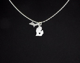 Michigan Necklace - State Jewelry - Michigan Jewelry - Michigan Gift