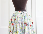 Country Floral Skirt. 60's Rockmount // Cowgirl, Western. Square Dance./ Spring Florals. Summer Skirt. Tiered Cotton Skirt. Floral print.