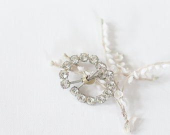 Large Rhinestone Belt Buckle. Wedding Jewelry. // Large Belt Buckle Brooch. 2 Piece Set. Bridal Sash Buckle. // Silver Vintage Brooch