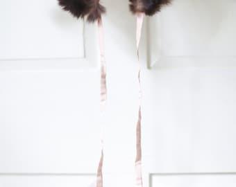 Vintage Peter Pan Fur Collar with Ties., Pom Poms. // Fur Accessories. Winter Neckwear.