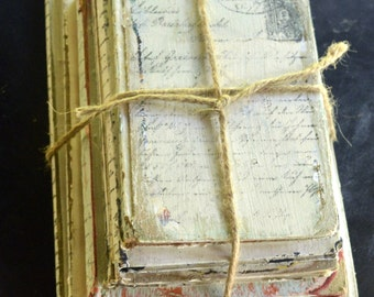 Farm House Decor, Distressed Vintage Books, Old Book Stack Decor, Painted White Vintage Books, Vintage French Script Decor, Altered Books