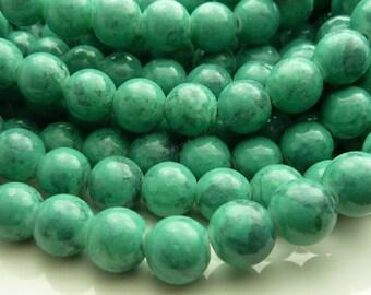 Persian Green Round Glass Beads - 10mm Mottled Mosaic Beads, Bohemian Glass - 20pcs - BN9