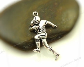 10 Football Player Charms - Antique Silver Tone Metal - 29x15mm Sports Pendants - BA5