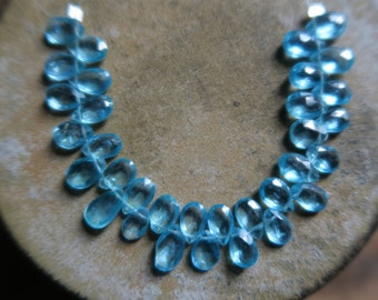 "Breathtaking APATITE Faceted Pear Briolettes, 6.5mm - 8mm, 3.5"" Strand"