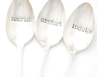 Hostess Gift. Serving Spoon Set, Nourish, Comfort, Indulge.
