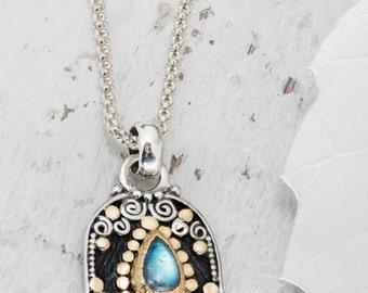 Rainbow Moonstone Necklace, Hamsa hand, Good luck Charm, Hand of Hamsa, Amulet Necklace, Judaica Jewelry, Israeli Jewelry, Hamsa Charm