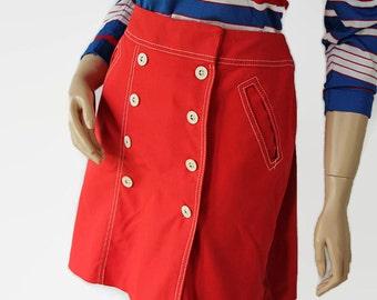 70s Mini Skirt Skort Culottes Mod White Stag School Girl