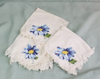 Handmade vintage applique handkerchiefs- blue and yellow daisies, fringed edges- Set of three antique cotton voile- white, ivory