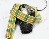 Plaid Camera Strap - Yellow, Green and Brown - dSLR Camera Strap - Gift for Men - Camera Accessories - Camera Gear - Sony Camera Strap