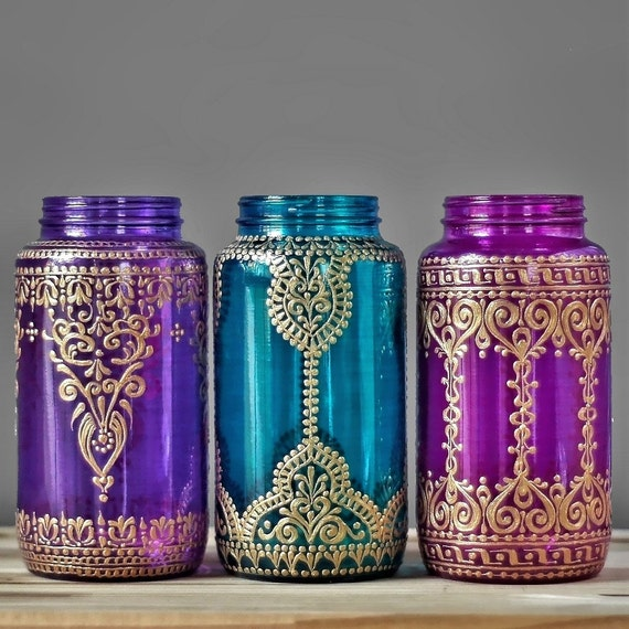 Jewel Toned Mason Jar Vase, Gypsy Wedding Centerpiece with Gilded Detailing, Your Choice of Glass Color and Design