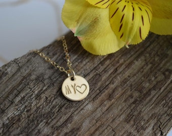 My love, my heart, hand stamped necklace, 14k gold filled chain, gold disc necklace, simple everyday, new mom gift, brides