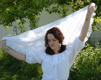 Vintage white eyelet-lace shawl, triangle bridal wedding cover wrap scarf SALE