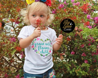 Grow Wild Flower Child Embroidered Applique Shirt or Bodysuit Toddler