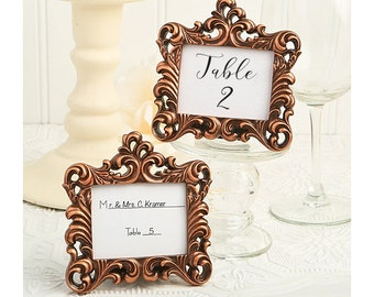 Place Card Holder Frames 50 Set - Small Copper Picture Frame for Table Numbers - Wedding Favors Party Favor Victorian Bridal Shower