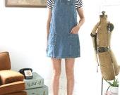Vintage Denim Dress Sleeveless Pinafore 90s