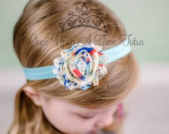 Blue Bubbles Print Shabby Flower Headband - Photo Prop - Newborn Hair Bow Little Girls Hairbow Accessories - Aqua Blue Colorful Printed Bow