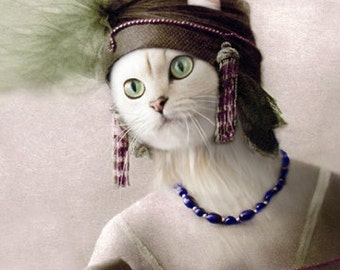 Eirwen, Cat Print, Whimsical Cat Art, Cat Wall Decor, Anthropomorphic, Photo Collage, Cat Lover Gift, Cat Digital Print, Unusual Artwork