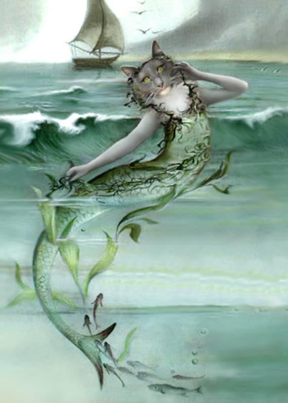 Lorelei, Cat Mermaid Print, Anthropomorphic, Photo Collage, Whimsical Art, Altered Photograph, Mermaid Art, Fantasy Art, Unusual Cat Art